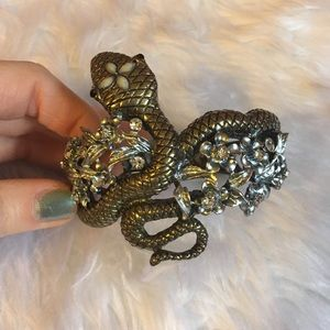 Jewelry - Silver and gold snake and floral crystal bracelet
